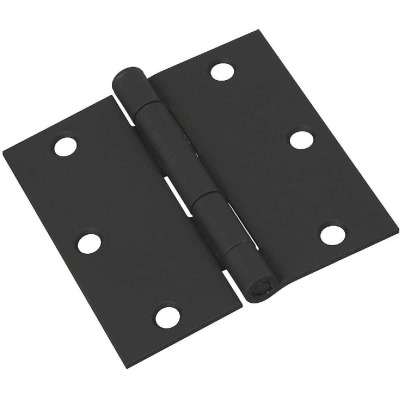 National 3-1/2 In. Square Black Door Hinge