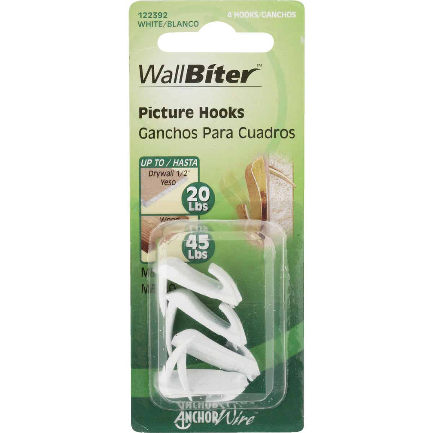 Hillman Anchor Wire 20 Lb. Capacity Wallbiter Picture Hanger (4 Count) Image 2