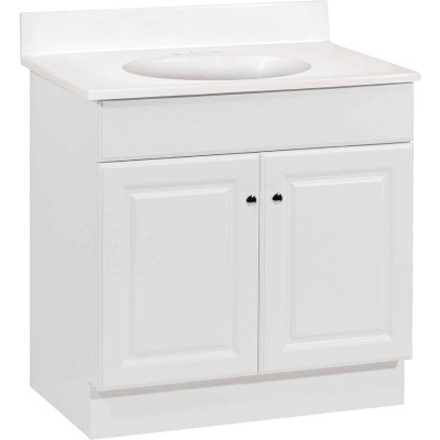 Continental Cabinets Richmond White 30-1/2 In. W x 35-1/4 In. H x 18-1/2 In. D Vanity with White Cultured Marble Top
