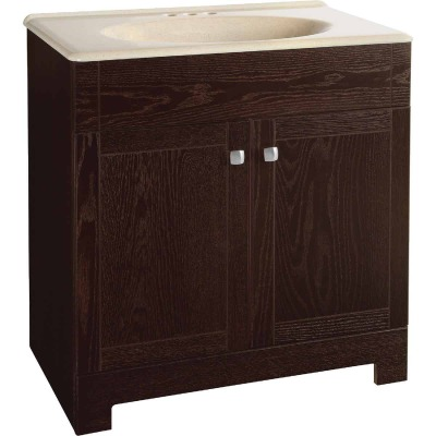 Continental Cabinets Sedona Java Oak 30-3/4 In. W x 32-3/4 In. H x 18-1/2 In. D Vanity with Beige Solid Surface Technology Top