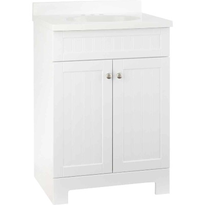 Continental Cabinets Edgewater White 25 In. W x 37-1/2 In. H x 18-1/2 In. D Vanity with White Cultured Marble Top
