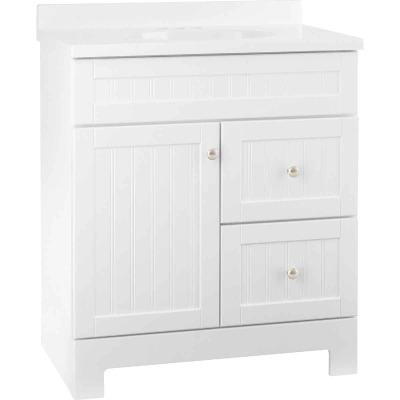 Continental Cabinets Edgewater White 31 In. W x 37-1/2 In. H x 18-1/2 In. D Vanity with White Cultured Marble Top