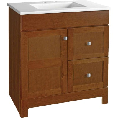 Continental Cabinets Allenton Auburn 30-1/2 In. W x 34-1/2 In. H x 19 In. D Vanity with White Cultured Marble Top