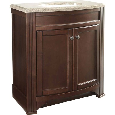Continental Cabinets Duvall Cafe Black Glaze 30-3/4 In. W x 34-3/4 In. H x 18-1/2 In. D Vanity with Tan/Wht Cultured Marble Top
