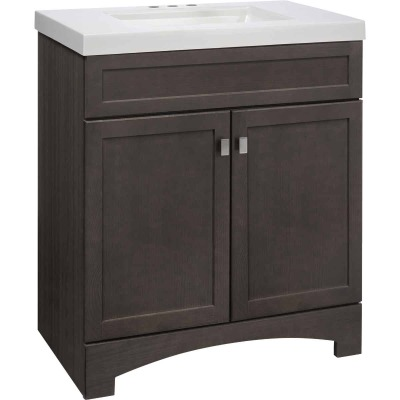 Continental Cabinets Davison Gray 30-1/2 In. W x 35-1/2 In. H x 18-3/4 In. D Vanity with White Cultured Marble Top