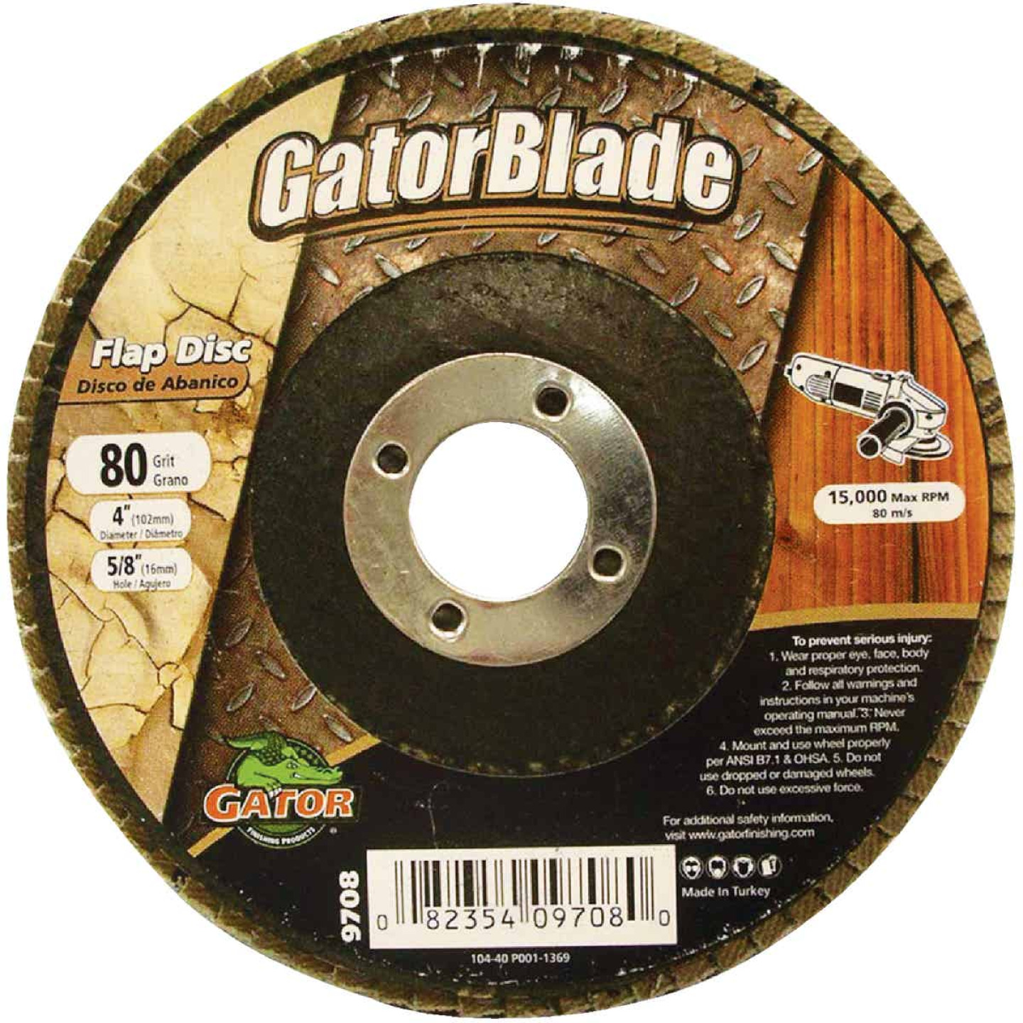 Gator Blade 4 In. x 5/8 In. 80-Grit Type 29 Angle Grinder Flap Disc Image 1