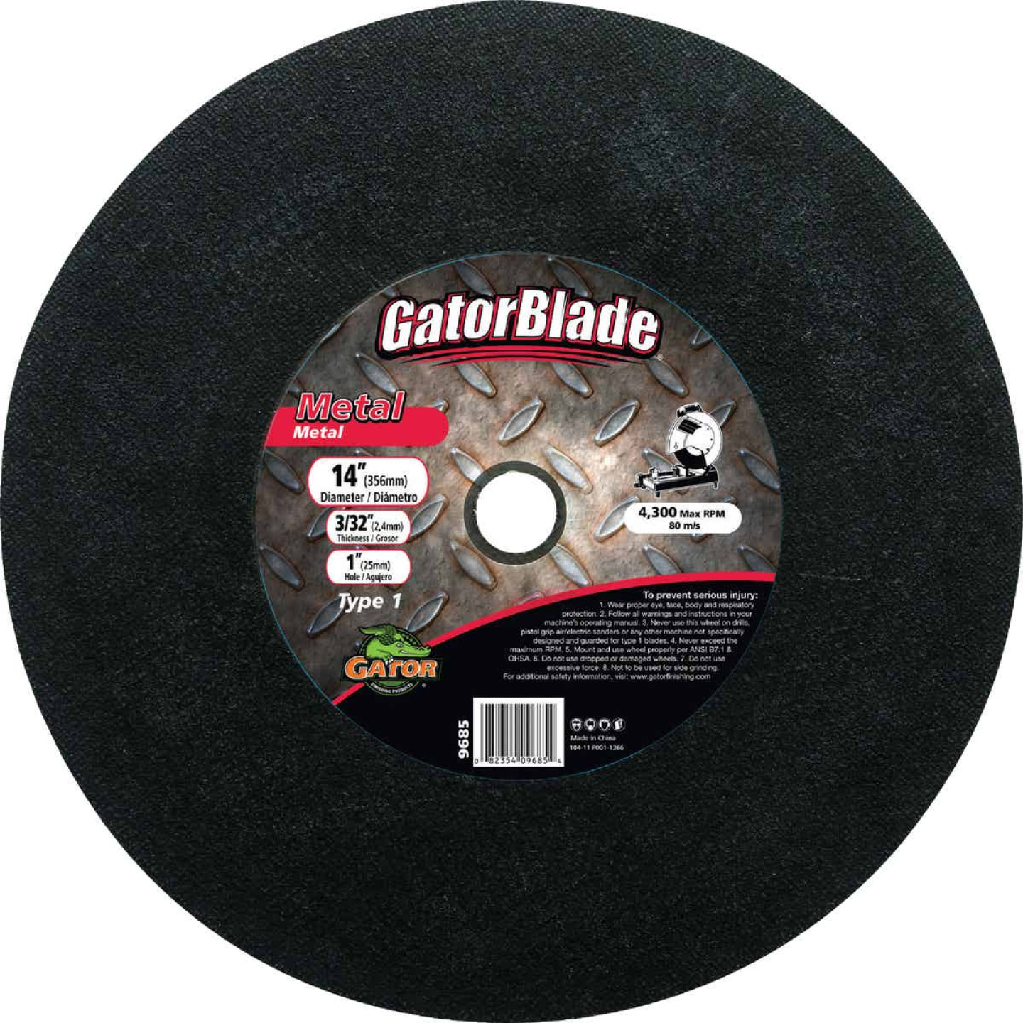 Gator Blade Type 1 14 In. x 3/32 In. x 1 In. Metal Cut-Off Wheel Image 1