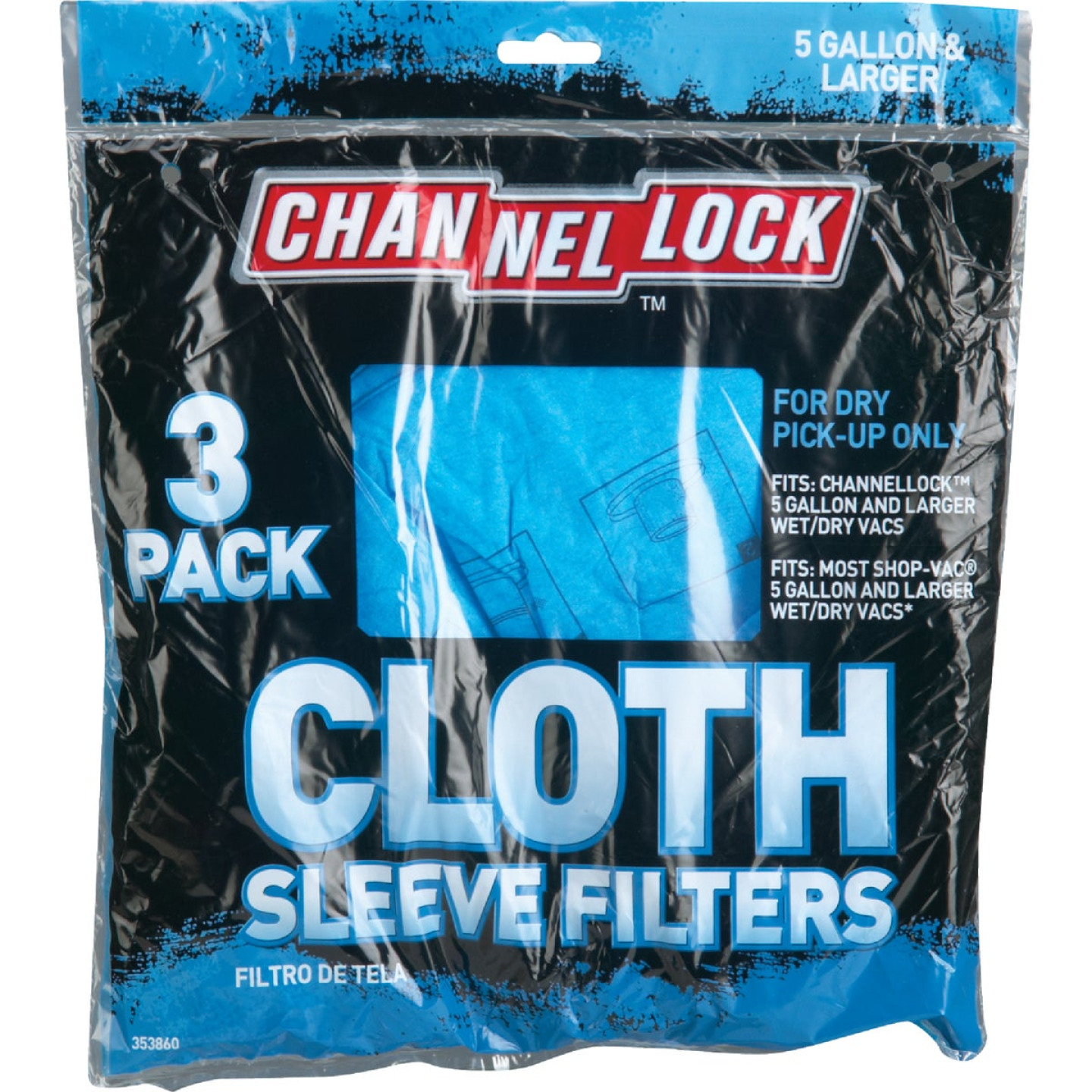 Channellock Cloth Standard 5 Gal. Filter Vacuum Bag Image 2