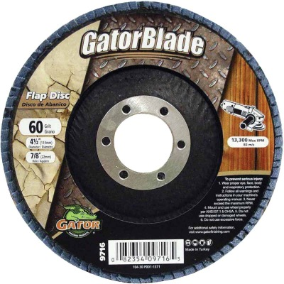 Gator Blade 4-1/2 In. x 7/8 In. 60-Grit Type 29 Angle Grinder Flap Disc