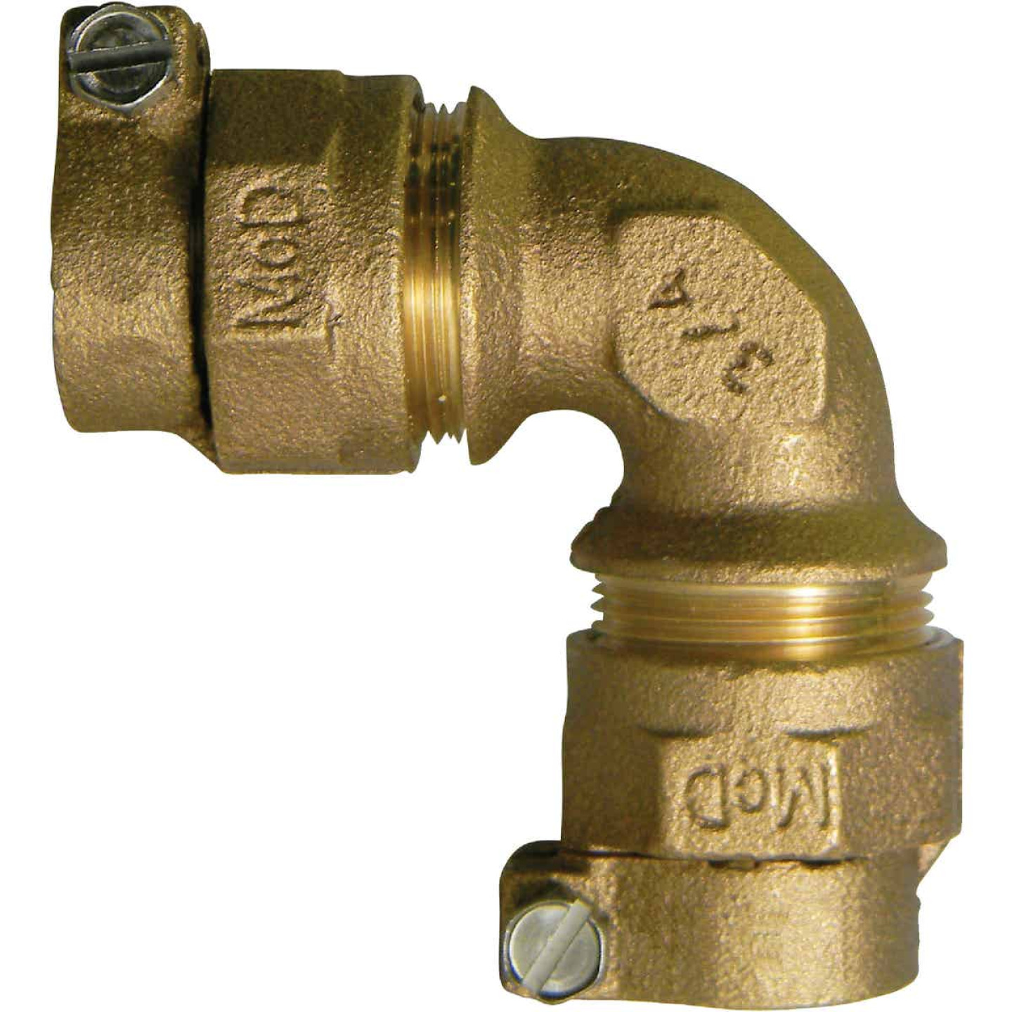 A Y McDonald 1 In. 90 Deg. Brass Elbow, CTS Polyethylene Pipe Connector (1/4 Bend) Image 1