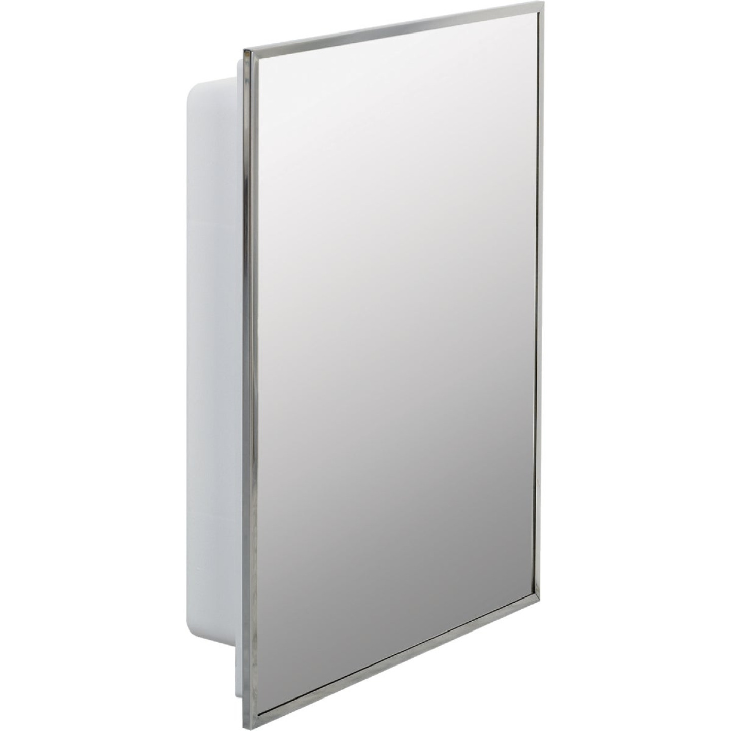 Zenith Stainless Steel 16-1/8 In. W x 20-1/8 In. H x 3-1/4 In. D Single Mirror Surface/Recess Mount Medicine Cabinet Image 4