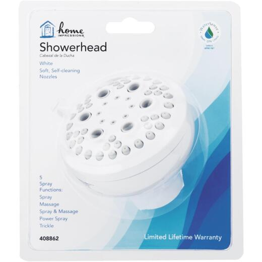 Home Impressions 5-Spray 1.8 GPM Fixed Showerhead, White