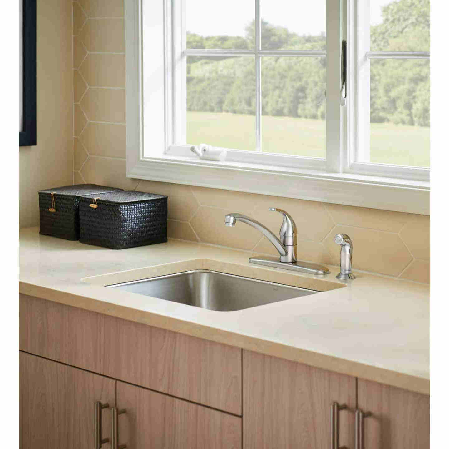 Moen Adler Single Handle Lever Kitchen Faucet with Side Spray, Chrome Image 2