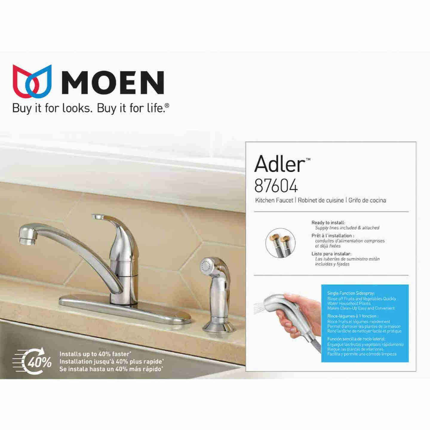 Moen Adler Single Handle Lever Kitchen Faucet with Side Spray, Chrome Image 3