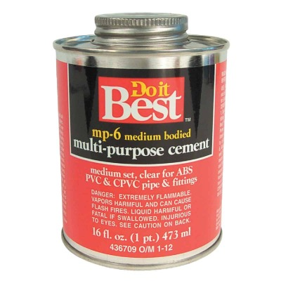Do it Best 16 Oz. Medium Bodied Clear Multi Purpose Solvent Cement