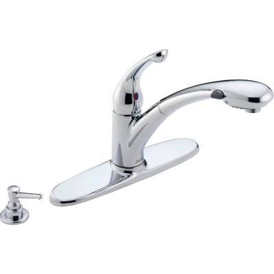 Delta Signature Single Handle Lever Pull-Out Kitchen Faucet with Soap Dispenser, Chrome