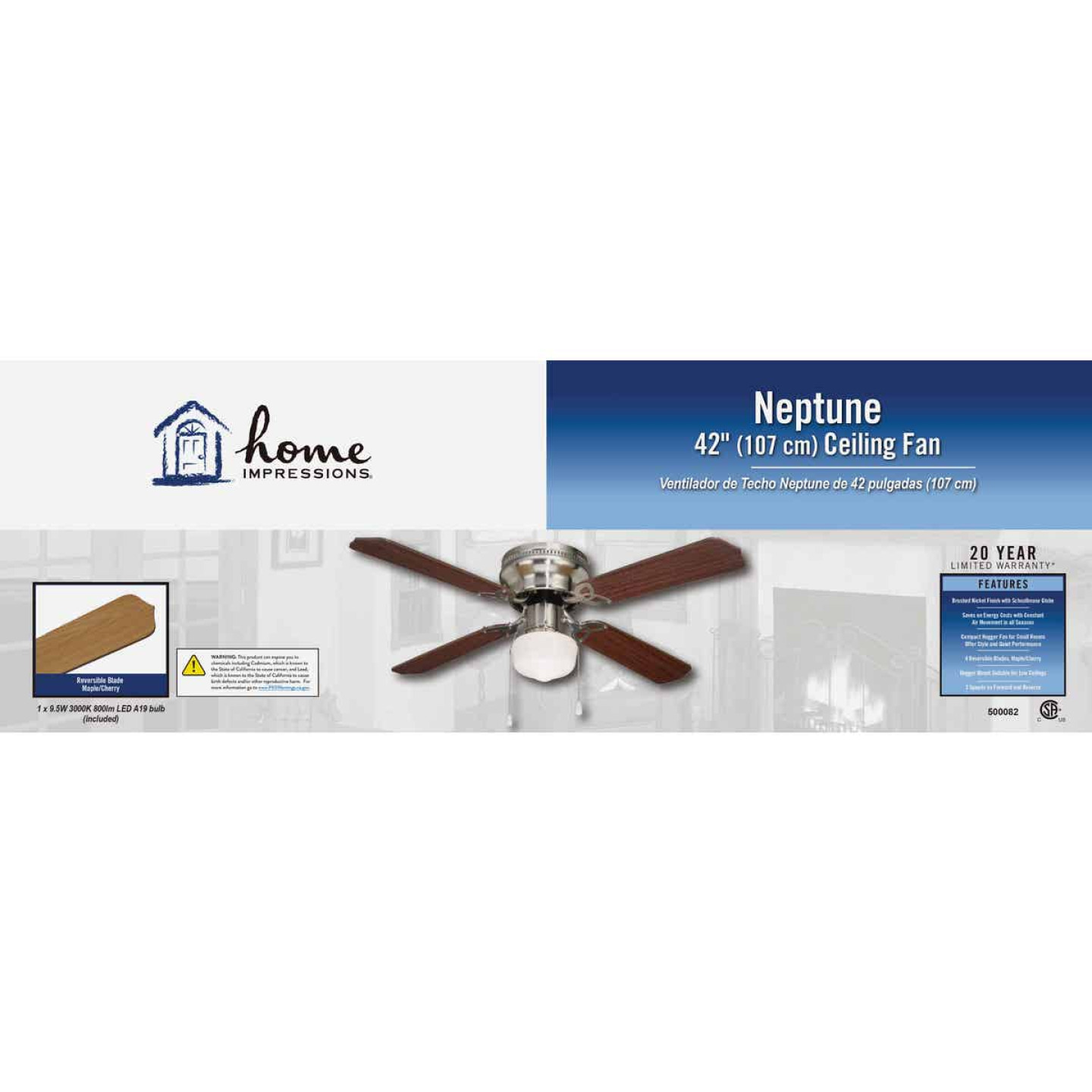 Home Impressions Neptune 42 In. Brushed Nickel Ceiling Fan with Light Kit Image 2