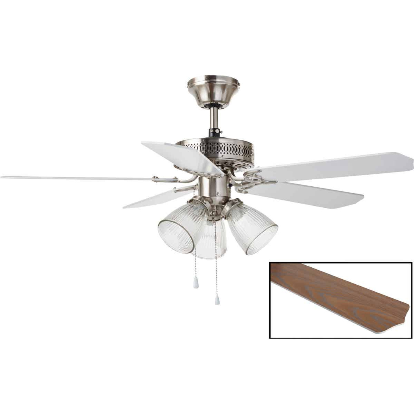 Home Impressions Tradition 42 In. Brushed Nickel Ceiling Fan with Light Kit Image 1