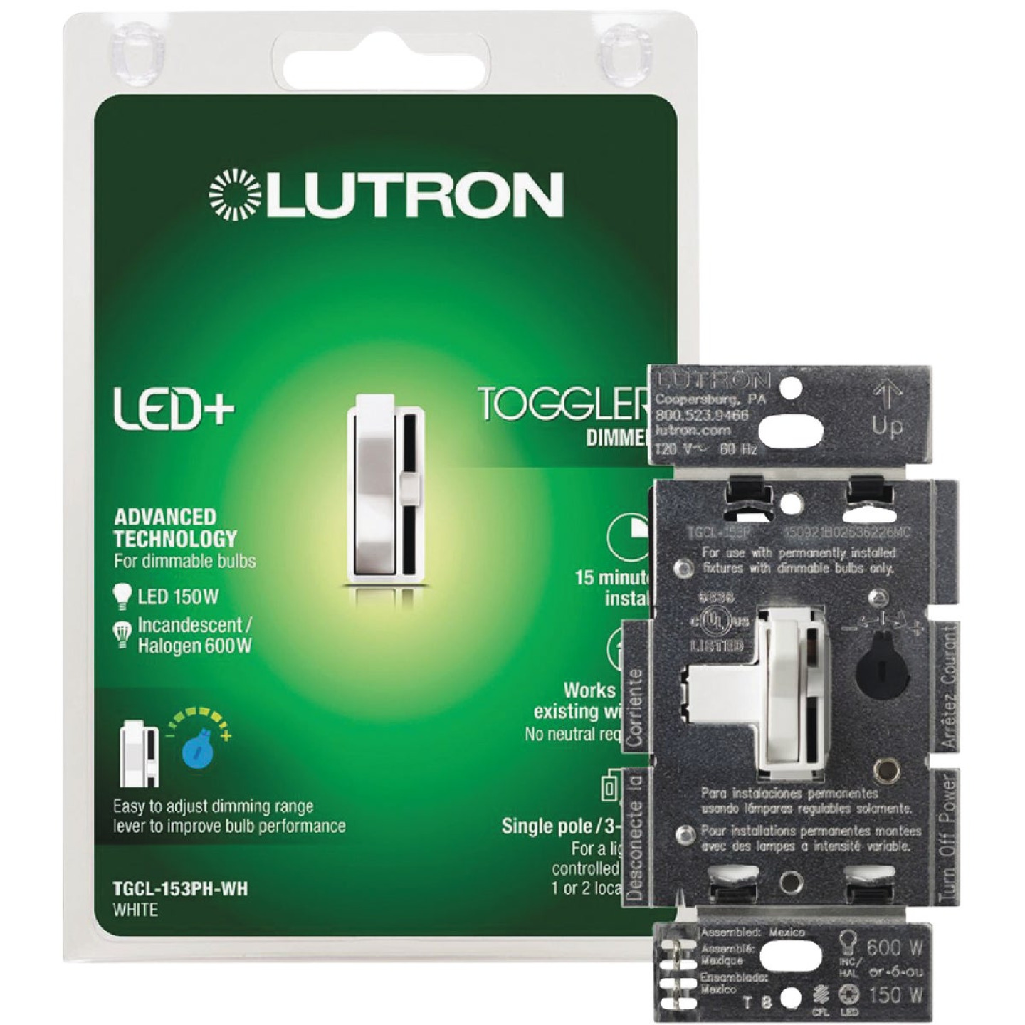 Lutron Toggler Incandescent/Halogen/LED/CFL White Slide Dimmer Switch Image 12