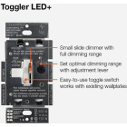 Lutron Toggler Incandescent/Halogen/LED/CFL White Slide Dimmer Switch Image 11