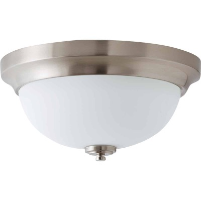Home Impressions Crawford 13 In. Brushed Nickel Incandescent Flush Mount Light Fixture
