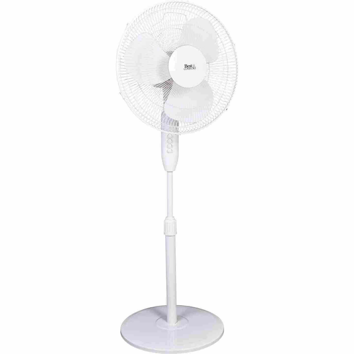 Best Comfort 16 In. 3-Speed Extends to 49 In. H. White Oscillating Pedestal Fan Image 1