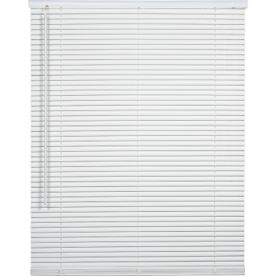 Home Impressions 24 In. x 64 In. x 1 In. White Vinyl Light Filtering Cordless Mini Blind