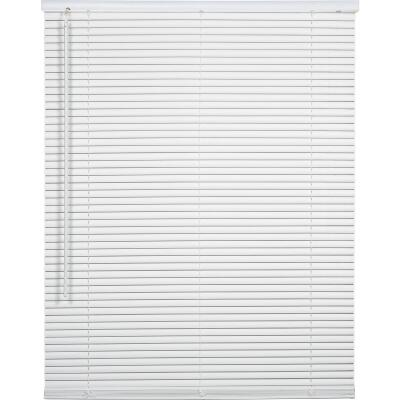 Home Impressions 25 In. x 64 In. x 1 In. White Vinyl Light Filtering Cordless Mini Blind