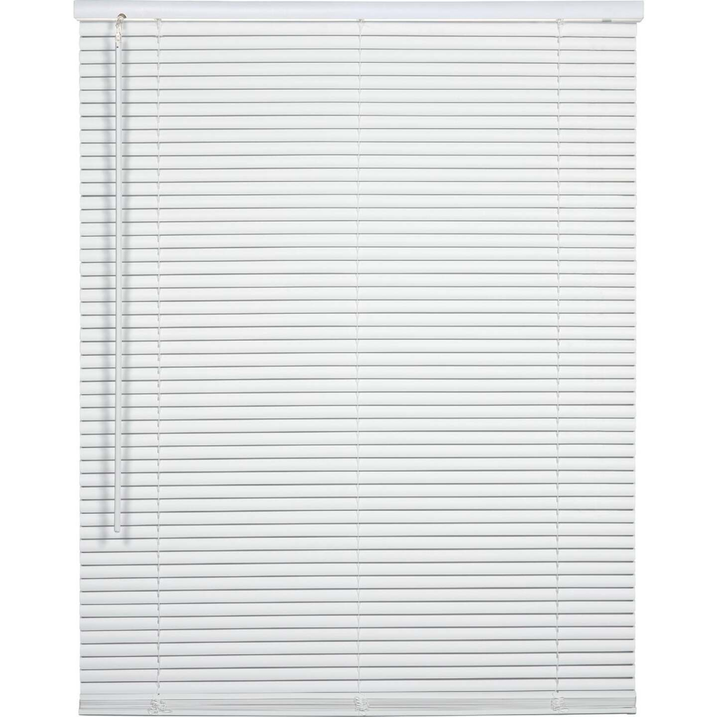 Home Impressions 27 In. x 64 In. x 1 In. White Vinyl Light Filtering Cordless Mini Blind Image 1