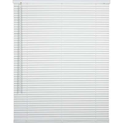 Home Impressions 28 In. x 64 In. x 1 In. White Vinyl Light Filtering Cordless Mini Blind