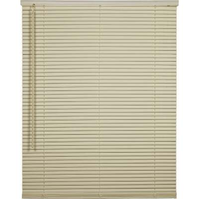 Home Impressions 60 In. x 64 In. x 1 In. Vanilla Vinyl Light Filtering Cordless Mini Blind