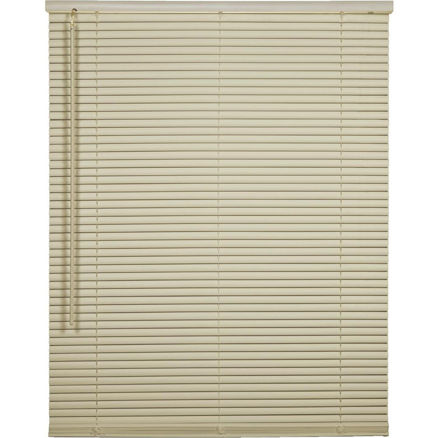 Home Impressions 58 In. x 64 In. x 1 In. Vanilla Vinyl Light Filtering Cordless Mini Blind Image 1