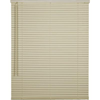 Home Impressions 58 In. x 64 In. x 1 In. Vanilla Vinyl Light Filtering Cordless Mini Blind