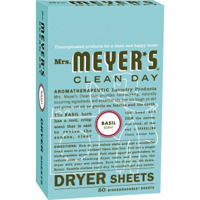 Mrs. Meyer's Clean Day Basil Dryer Sheet (80 Count)