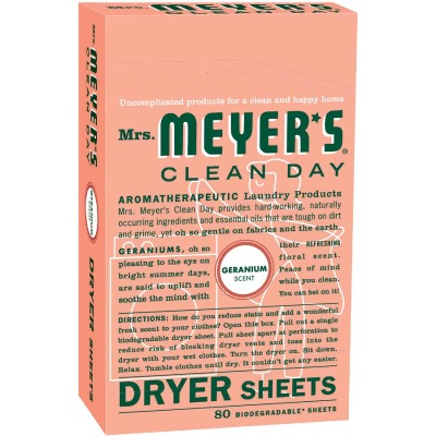 Mrs. Meyer's Clean Day Geranium Dryer Sheet (80 Count)