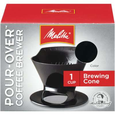 Melitta Pour-Over Black 1 Cup Filter Cone Coffee Brewer