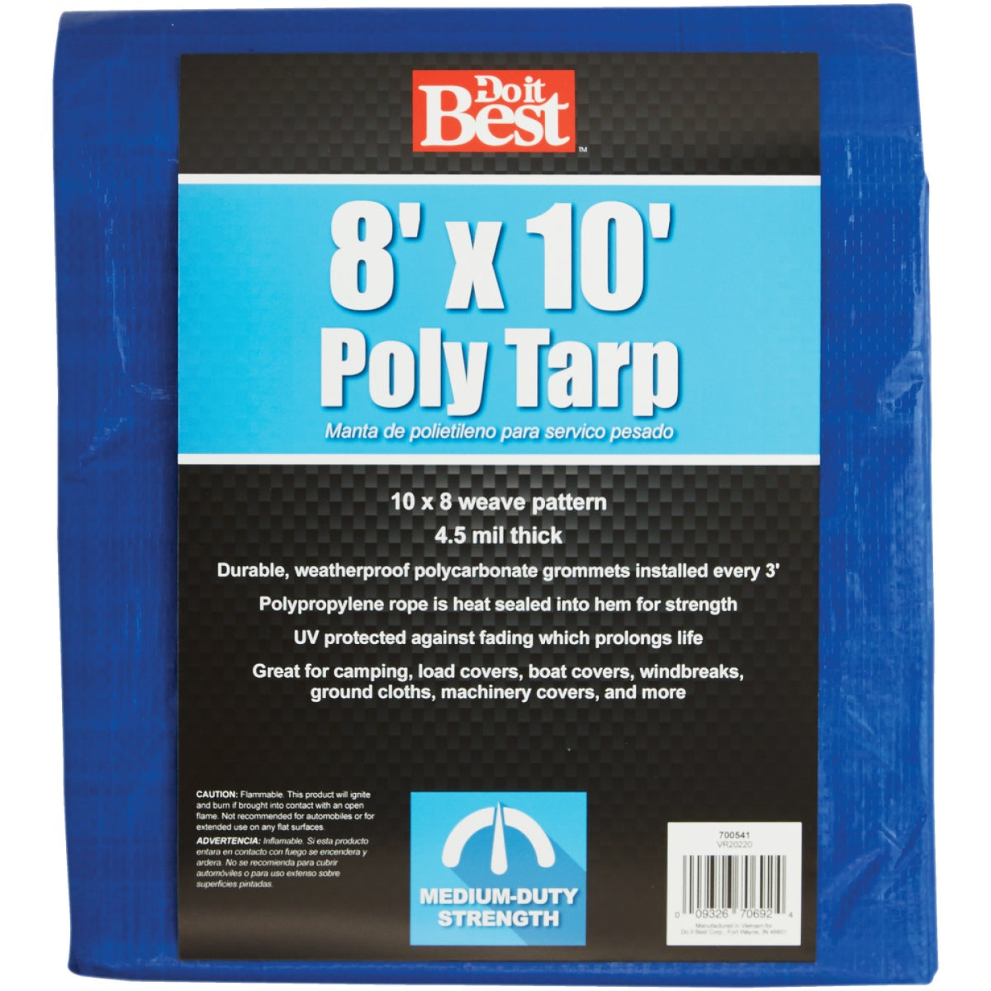Do it Best Blue Woven 8 Ft. x 10 Ft. Medium Duty Poly Tarp Image 1