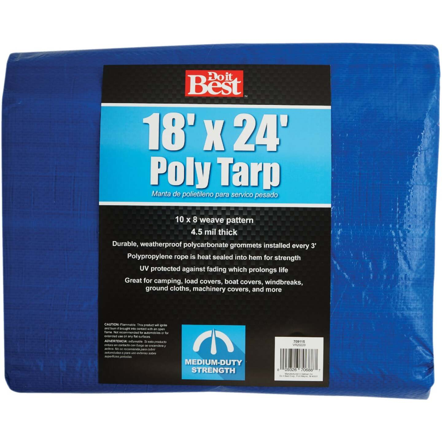 Do it Best Blue Woven 18 Ft. x 24 Ft. Medium Duty Poly Tarp Image 1