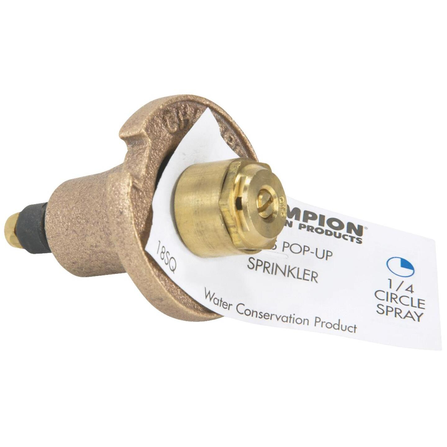 Champion 1.25 In. Quarter Circle Brass Pop-Up Sprinkler with Brass Nozzle Image 2