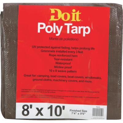 Do it Green/Brown Woven 8 Ft. x 10 Ft. Medium Duty Poly Tarp