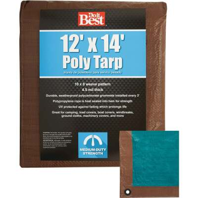 Do it Best 1 Side Green/1 Side Brown Woven 12 Ft. x 14 Ft. Medium Duty Poly Tarp