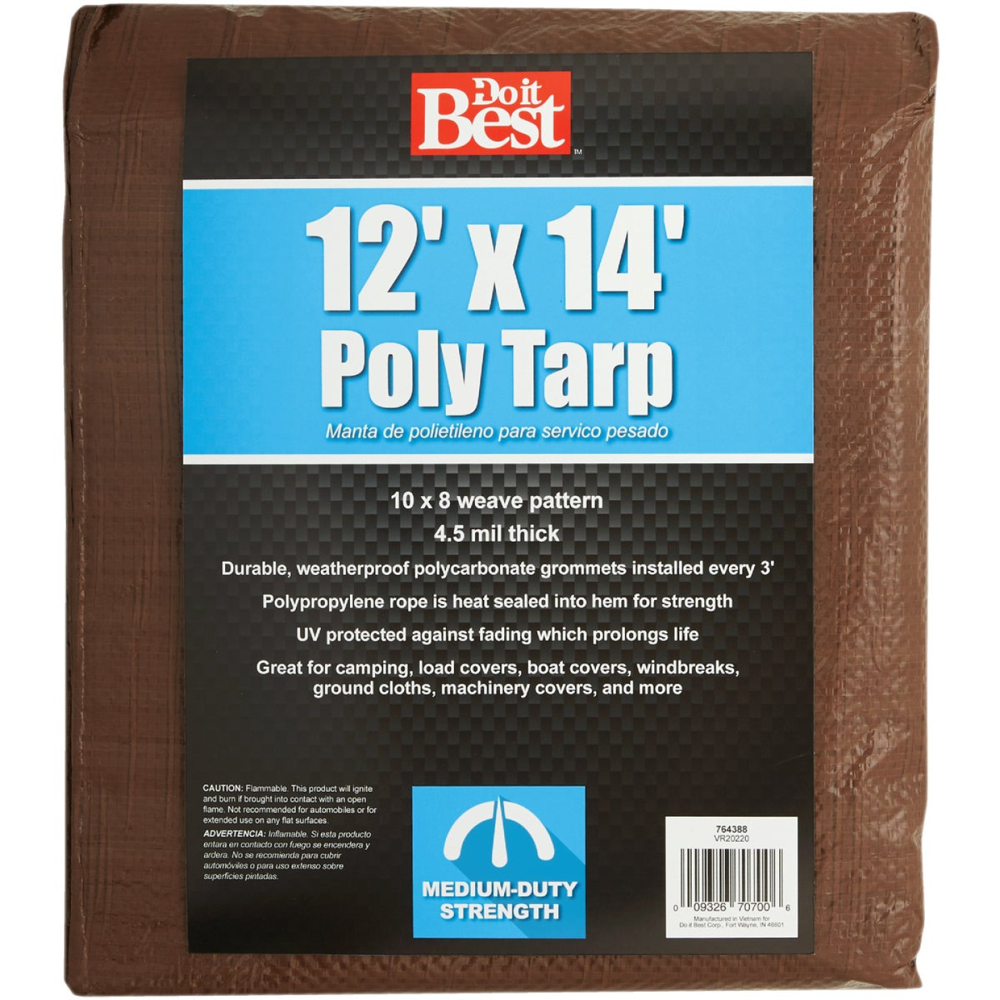 Do it Best 1 Side Green/1 Side Brown Woven 12 Ft. x 14 Ft. Medium Duty Poly Tarp Image 2