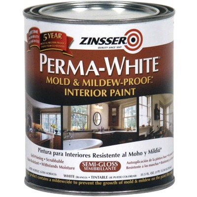 Zinsser Perma-White White-Tintable Semi-Gloss Quart Mildew Paint