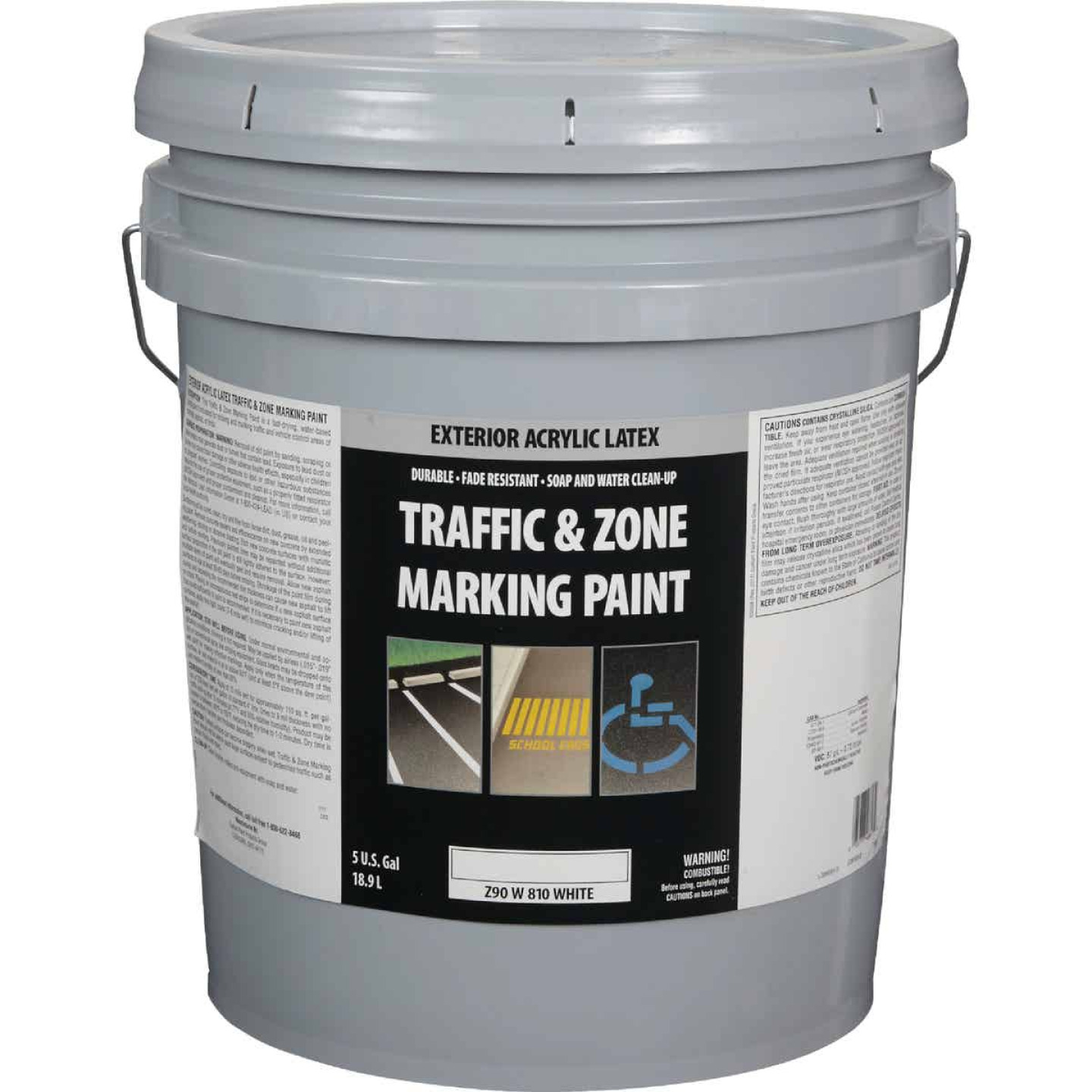 Traffic And Zone White Latex 5 Gal Traffic Paint Image 1