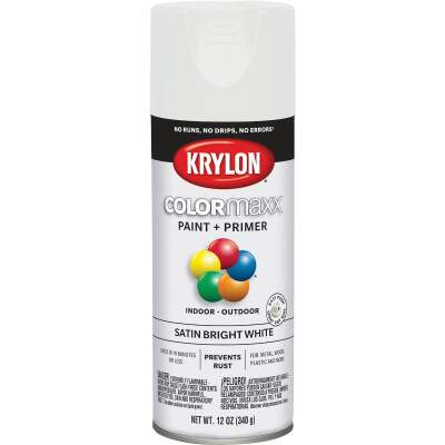 Krylon ColorMaxx12 Oz. Satin Spray Paint, Bright White