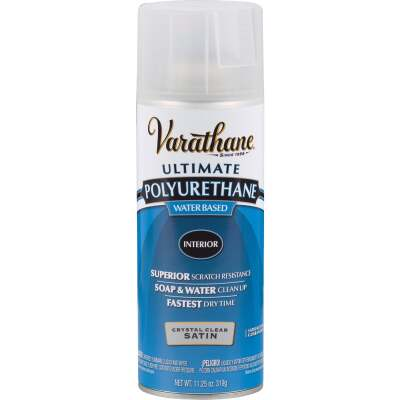 Varathane Satin Clear Interior Water-Based Spray Polyurethane, 11.25 Oz.