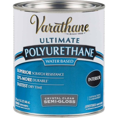 Varathane Semi-Gloss Low Odor Water Based Interior Polyurethane, 1 Qt.