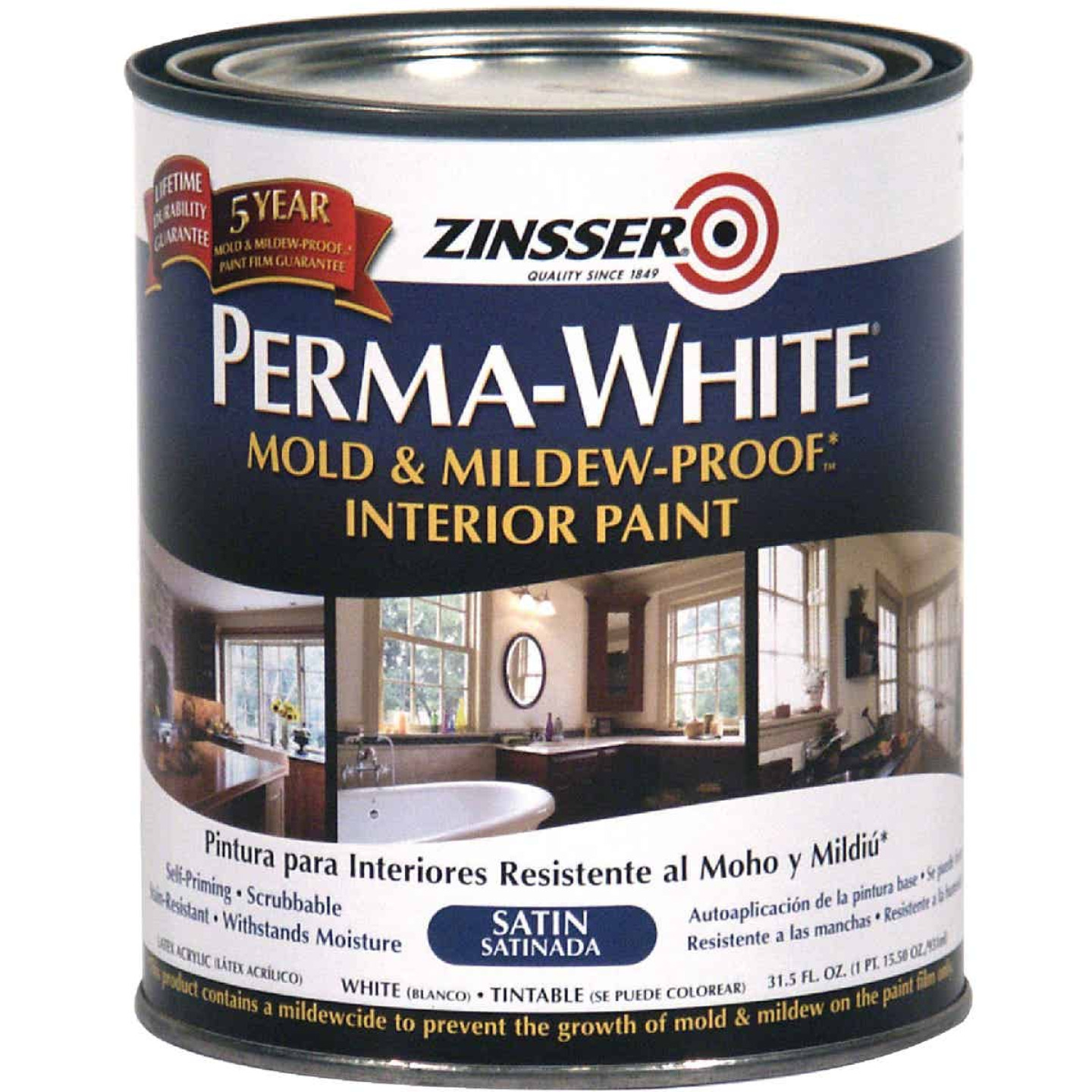 Zinsser Perma-White White-Tintable Satin Quart Mildew Paint Image 1