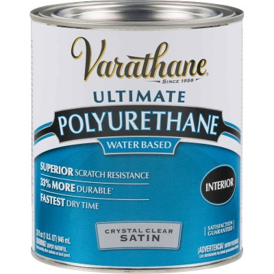 Varathane Satin Low Odor Water Based Interior Polyurethane, 1Qt.