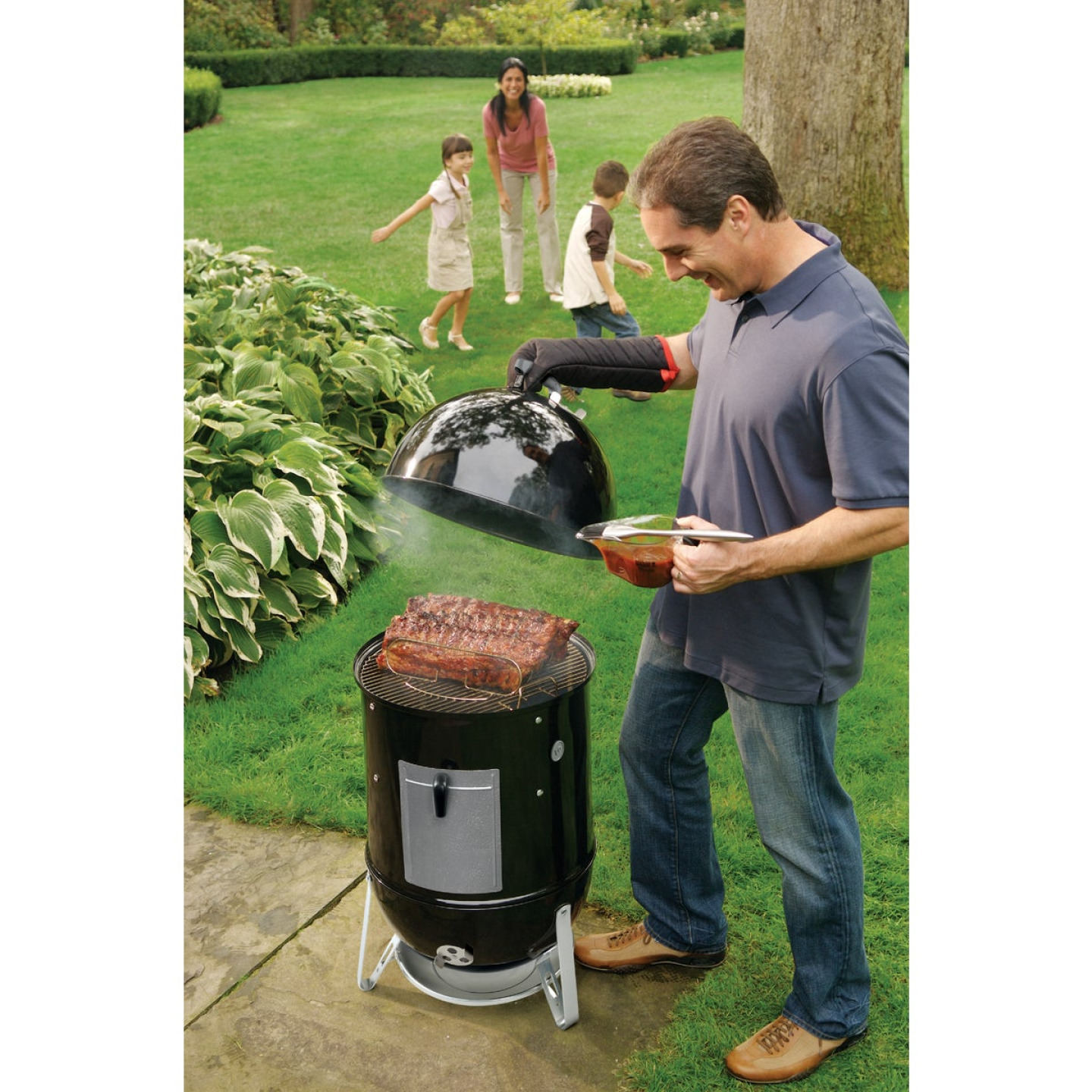 Weber Smokey Mountain Cooker 18 In. Dia. 481 Sq. In. Vertical Charcoal Smoker Image 3